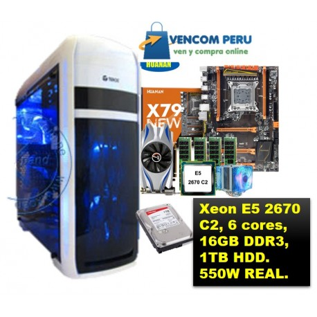 Workstation Renovada HUANAN deluxe X79, Xeon E5 2670 C2, 6 nucleos , 16GB  DDR3, t GTX650Ti 2G, 1TB HDD, 550W real