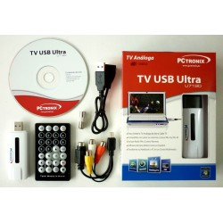 SINTONIZADOR DE TV Y RADIO USB ANALOGO U719D PCTRONIX, Cables A/V para capturar video y audio en vivo, window 7 / 8 / 8.1