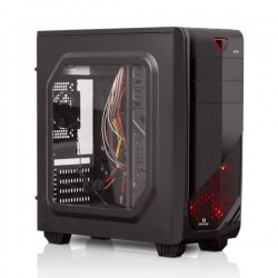 Case Gamer Enkore FALCON ENC 2022-Acabado Brillante, 01 Cooler Frontal LED , 01 cooler de 8cm,  ventana transparente