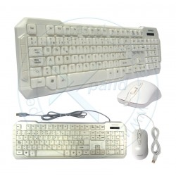 Kit Gaming Teclado y Mouse Advance ADV-KB830, USB, Blanco, Teclado idioma Español, Mouse Sensor óptico 1 000 DPI