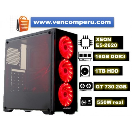 PC Gamer XEON E5-2620 CPU, 16GB DDR3, 1TB HDD, Video Nvidia GT-730 2GB, Case Gamer 3 Leds. 550W Real.