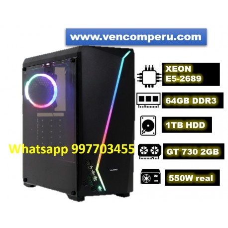 PC Gamer XEON E5-2689, 64GB DDR3, 1TB HDD, Video Nvidia GT-730 2GB, Case Gamer 3 Leds. 550W Real.