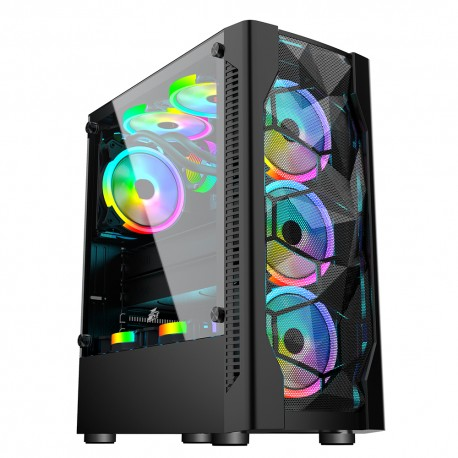 Case sin fuente 1STPLAYER DK-D4, ATX Case, USB3.0, Tempered Glass, Metal Mesh Cover