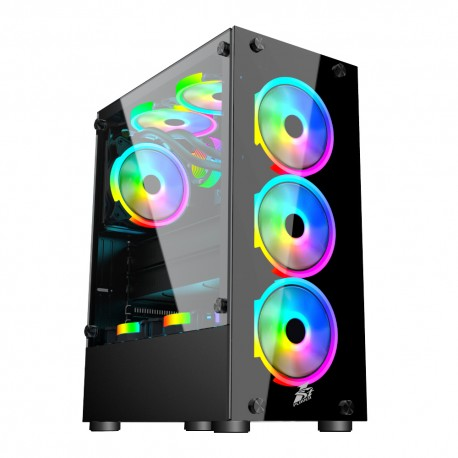 Case sin fuente 1ST PLAYER V2-A, ATX Case, USB3.0, Tempered Glass, RGB Frontal, RGB Posterior