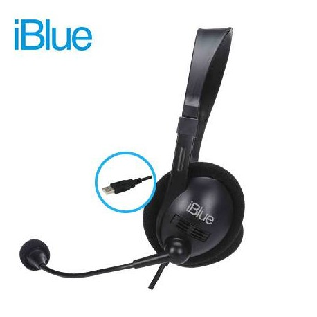 AUDIFONO IBLUE HS-3001BK Con MICROFono CHAT-LINK, USB, BLACK