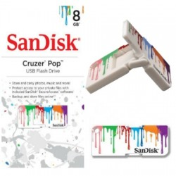Memoria Flash USB SanDisk Cruzer Pop Paint  8GB  USB 2.0  presentacion en colgador
