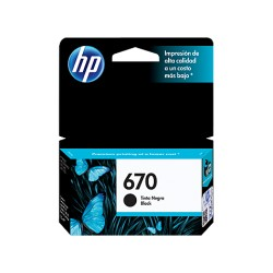 Cartucho de tinta HP 670 (CZ113AL), Color negro, compatible con HP Deskjet Ink Advantage 3525 All-in-One, Presentación en caja