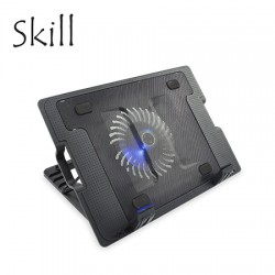 "COOLER SKILL P/NOTEBOOK 788-BK 17"" BLACK,  Luz led Azul, 12cm cooler, Alimentación USB"
