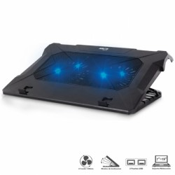 Cooler Externo Airboom Notebook GLACIER XL AB 06 - 2 Coolers LED x 14cm - 6 Niveles Inclinación, color Negro.