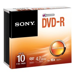 Discos Dvd Sony 6x DVD-R 4.7GB Recordable DVD Media - 10 Pack