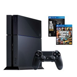 PlayStation 4, 500GB, GTA V y The Last of US, negro