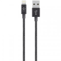 Cable Lightning Belkin MIXIT Metallic Lightning to USB Cable - Lightning (M) a USB (M), 1.2 m, blindado, negro
