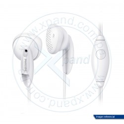 Auriculares Philips SHE1355WT, Blanco, 50 mW, estereo, microfono, 1.2 mts, 3.5mm.