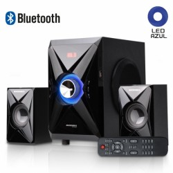 Parlante BLUETOOTH 2.1 Micronics CARUSSO MIC S7022BT,  SD, USB, Radio FM, Iluminación Luces LED, Color Negro.