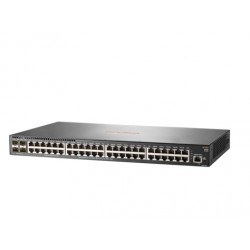 Switch HPE Aruba 2930F, 48 RJ-45 GbE, 4 SFP.  Switching 104 Gbps, 1GB DDR3 SDRAM, buffer de 12.38 MB, 4 GB eMMC.