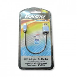 CABLE ADAPTADOR ON-THE-GO OTG ENERGIZER PARA MICRO USB, MACHO MICROUSB A HEMBRA USB